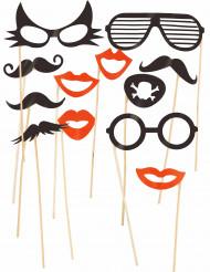 Kit accesorios fotos 12 unidades gafas y bigotes