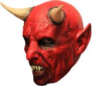 Máscara 3/4 demonio rojo con cuernos y dientes