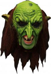 Máscara 3/4 duende verde terrorífico con dentadura
