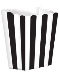 5 Envases de palomitas negro y blanco
