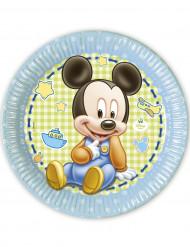 8 Platos cartón Bebé Mickey Mouse™ 23 cm