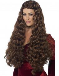 Peluca larga princesa medieval marrón mujer