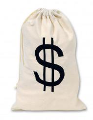 Saco de tela Dólares beige 42 x 26 cm