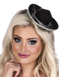 Mini sombrero negro para mujer