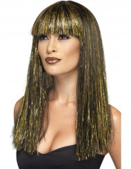 Peluca larga egipcia negra y dorada mujer