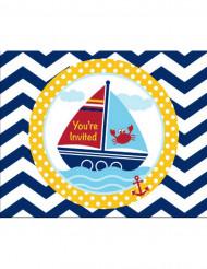 8 Tarjetas de invitación Mi pequeño marinero