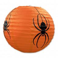 3 lámparas de papel naranja con arañas Halloween