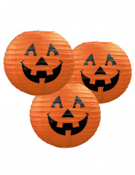 3 Lámaparas de papel calabazas Halloween 24 cm