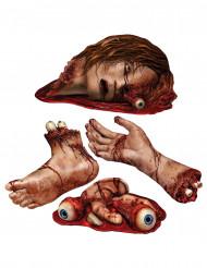 4 decoraciones partes del cuerpo ensangrentadas Halloween