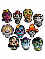 10 mini decoraciones de cartón Día de los muertos