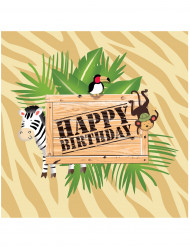 16 Servilletas papel cumpleaños safari 33x33 cm