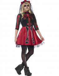 Disfraz esqueleto rojo brillantes adolescente Halloween