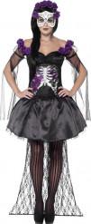 Disfraz esqueleto violeta mejicano mujer Halloween