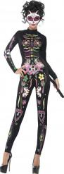 Disfraz esqueleto colorido mujer Halloween