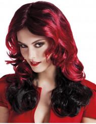 Peluca media melena roja y negra mujer