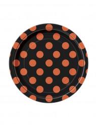 8 platos pequeños negros con lunares naranjas cartón 17 cm