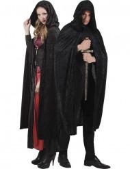Capa negra aspecto terciopelo 170 cm Halloween