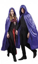 Capa violeta aspecto terciopelo 170 cm adulto Halloween
