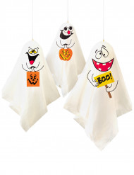 3 Decoraciones colgantes fantasmas Halloween