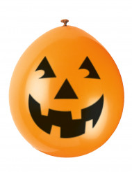 10 globos calabaza sonriente Halloween