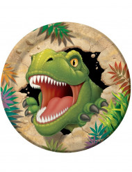 8 Platos de cartón cumpleaños dinosaurio 23 cm