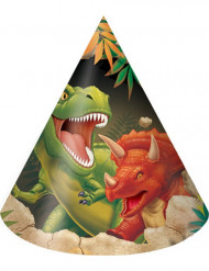 8 Gorros de fiesta cumpleaños dinosaurio