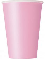 10 Vasos de cartón rosa claro 355 ml