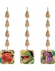 3 Decoraciones colgantes cumpleaños dinosaurio