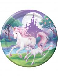 8 Platos Unicornio mágico 23 cm