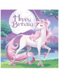16 Servilletas papel cumpleaños unicornio 33x33 cm