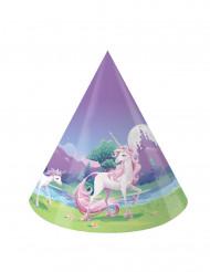8 Gorros de fiesta unicornio mágico