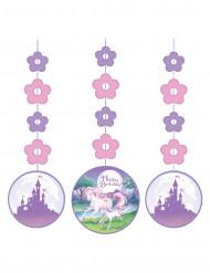 3 Decoraciones colgantes unicornio mágico 91 cm