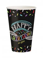 8 Vasos confetis Happy Birthday