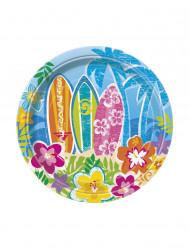 8 Platos pequeños cartón Hula Fiesta en la Playa 18 cm