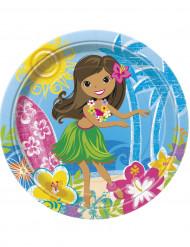 8 Platos cartón Hula Fiesta en la Playa 23 cm