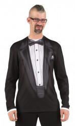 Camiseta traje de gala negro adulto