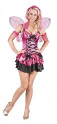 Disfraz hada rosa y negra brillante mujer