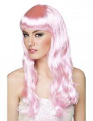 Peluca larga rosa palo mujer