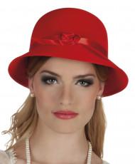 Sombrero Charlestón años 20 rojo mujer