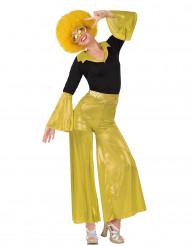 Disfraz disco para mujer amarillo y negro