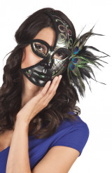 Semi máscara negra pavo real adulto