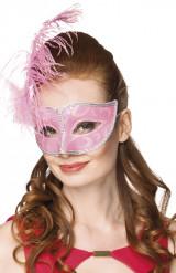 Antifaz veneciano rosa plumas mujer