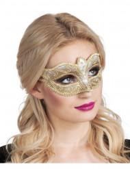 Antifaz veneciano dorado brillante mujer