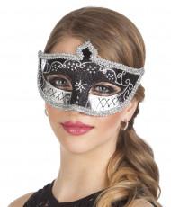 Antifaz veneciano negro plata sexy mujer