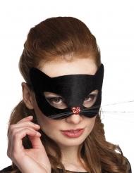 Antifaz gato negro con nariz corazón mujer