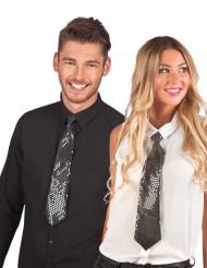 Corbata negra con lentejuelas transparentes adulto