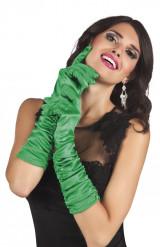 Guantes largos satinados verdes mujer
