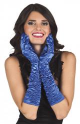 Guantes largos satinados azul mujer