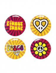 4 Chapas Hippe Flower Power