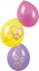 6 Globos Hippie Flower Power 25 cm
